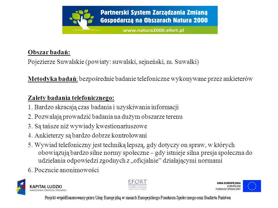 Obszar badań: Pojezierze Suwalskie (powiaty: suwalski, sejneński, m. Suwałki) Metodyka badań: bezpośrednie badanie telefoniczne wykonywane przez ankie