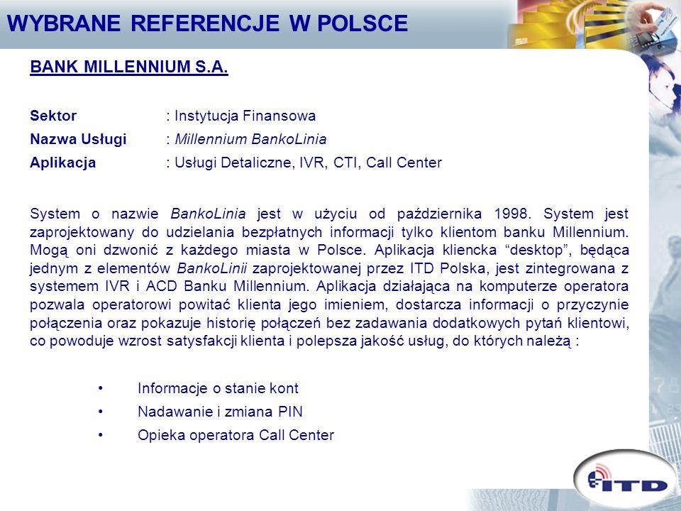 WYBRANE REFERENCJE W POLSCE ING BANK ŚLĄSKI S.A.