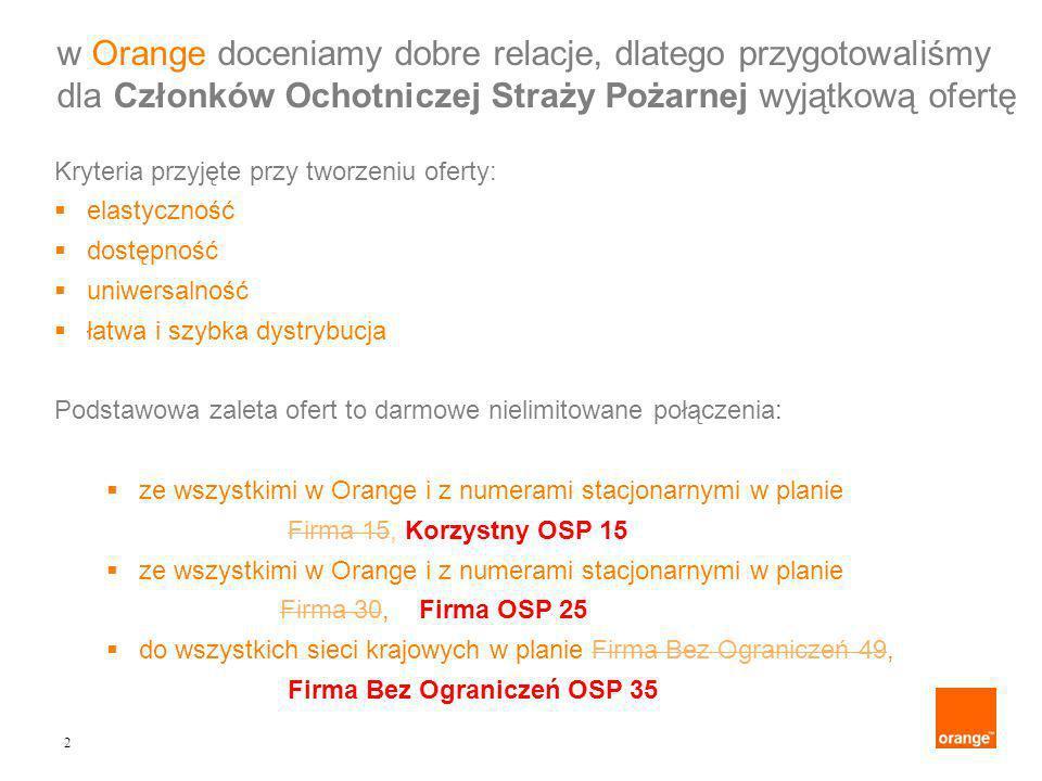2 Kryteria przyjęte przy tworzeniu oferty: elastyczność dostępność uniwersalność łatwa i szybka dystrybucja Podstawowa zaleta ofert to darmowe nielimitowane połączenia: ze wszystkimi w Orange i z numerami stacjonarnymi w planie Firma 15, Korzystny OSP 15 ze wszystkimi w Orange i z numerami stacjonarnymi w planie Firma 30, Firma OSP 25 do wszystkich sieci krajowych w planie Firma Bez Ograniczeń 49, Firma Bez Ograniczeń OSP 35 w Orange doceniamy dobre relacje, dlatego przygotowaliśmy dla Członków Ochotniczej Straży Pożarnej wyjątkową ofertę