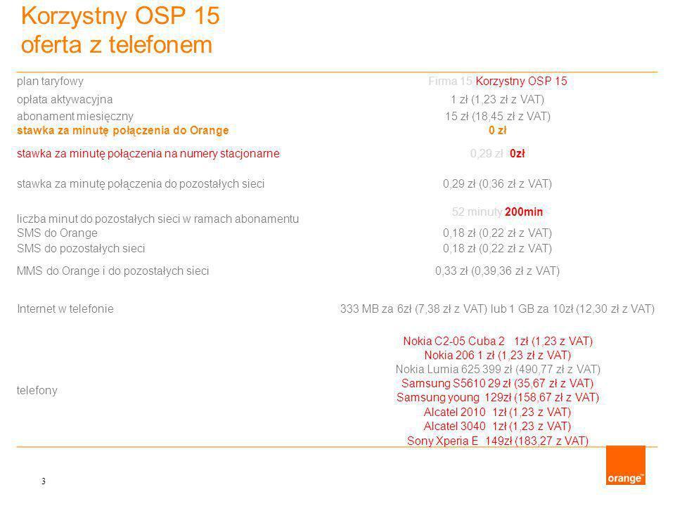 Korzystny OSP 15 oferta z telefonem 3 plan taryfowyFirma 15 Korzystny OSP 15 opłata aktywacyjna1 zł (1,23 zł z VAT) abonament miesięczny15 zł (18,45 zł z VAT) stawka za minutę połączenia do Orange0 zł stawka za minutę połączenia na numery stacjonarne0,29 zł 0zł stawka za minutę połączenia do pozostałych sieci0,29 zł (0,36 zł z VAT) 52 minuty 200min liczba minut do pozostałych sieci w ramach abonamentu SMS do Orange0,18 zł (0,22 zł z VAT) SMS do pozostałych sieci0,18 zł (0,22 zł z VAT) MMS do Orange i do pozostałych sieci0,33 zł (0,39,36 zł z VAT) Internet w telefonie333 MB za 6zł (7,38 zł z VAT) lub 1 GB za 10zł (12,30 zł z VAT) telefony Nokia C2-05 Cuba 2 1zł (1,23 z VAT) Nokia 206 1 zł (1,23 zł z VAT) Nokia Lumia 625 399 zł (490,77 zł z VAT) Samsung S5610 29 zł (35,67 zł z VAT) Samsung young 129zł (158,67 zł z VAT) Alcatel 2010 1zł (1,23 z VAT) Alcatel 3040 1zł (1,23 z VAT) Sony Xperia E 149zł (183,27 z VAT)