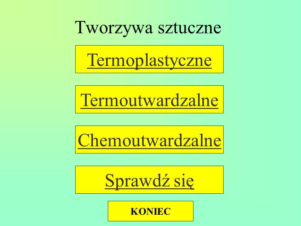 Tworzywa sztuczne Chemoutwardzalne Termoutwardzalne Termoplastyczne Sprawdź się KONIEC