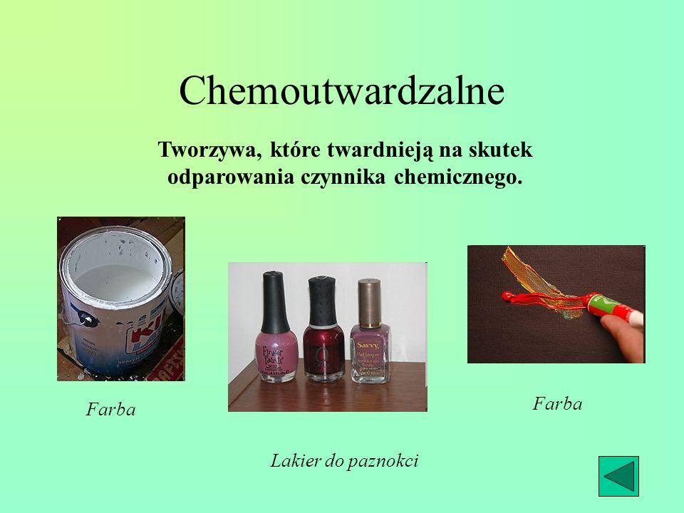 Chemoutwardzalne Tworzywa, które twardnieją na skutek odparowania czynnika chemicznego. Farba Lakier do paznokci Farba