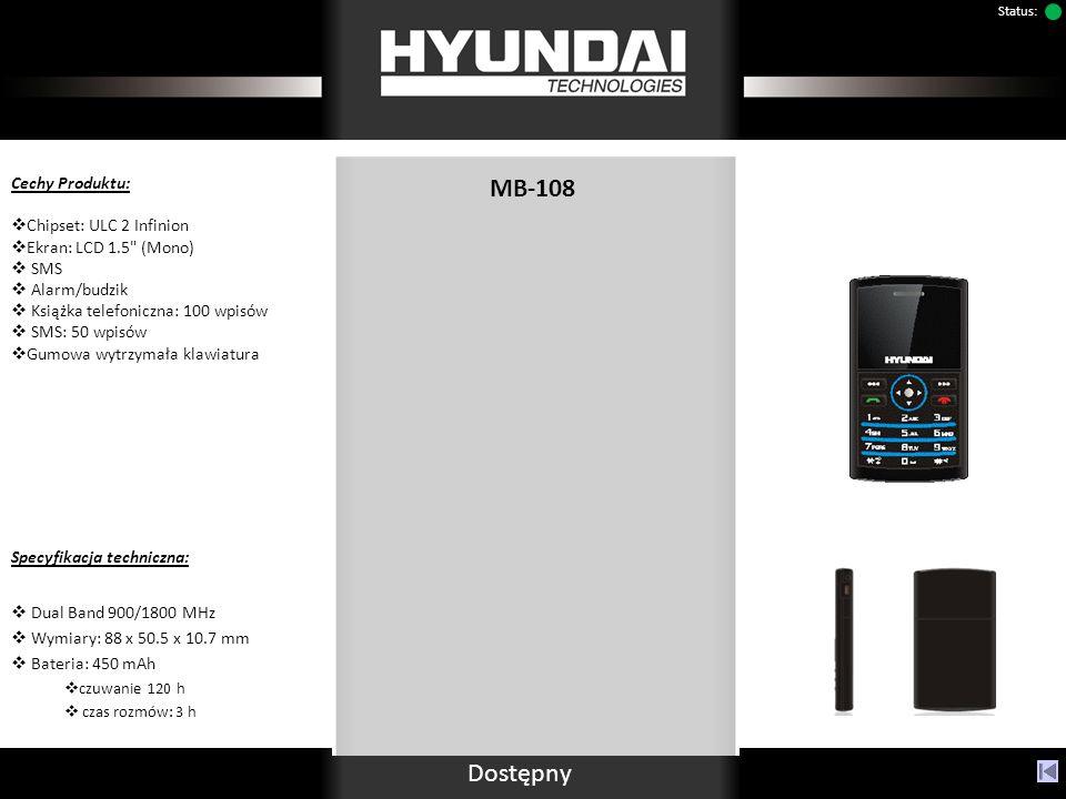 MB-108 Cechy Produktu: Chipset: ULC 2 Infinion Ekran: LCD 1.5 (Mono) SMS Alarm/budzik Książka telefoniczna: 100 wpisów SMS: 50 wpisów Gumowa wytrzymała klawiatura Specyfikacja techniczna: Dual Band 900/1800 MHz Wymiary: 88 x 50.5 x 10.7 mm Bateria: 450 mAh czuwanie 120 h czas rozmów: 3 h Dostępny Status:
