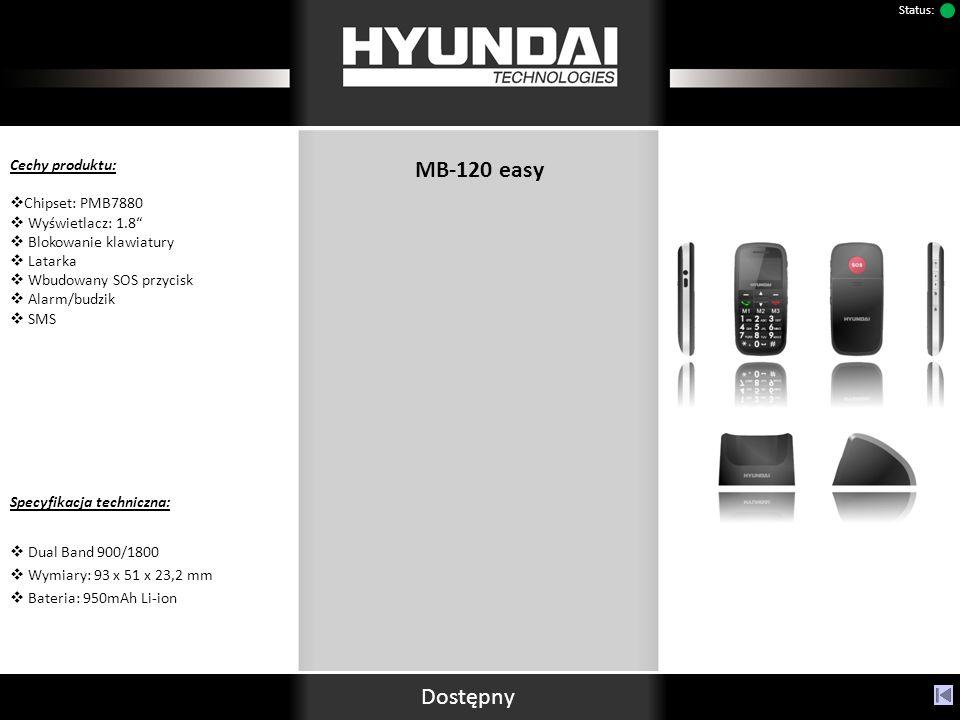 MB-120 easy Cechy produktu: Chipset: PMB7880 Wyświetlacz: 1.8 Blokowanie klawiatury Latarka Wbudowany SOS przycisk Alarm/budzik SMS Specyfikacja techniczna: Dual Band 900/1800 Wymiary: 93 x 51 x 23,2 mm Bateria: 950mAh Li-ion Dostępny Status: