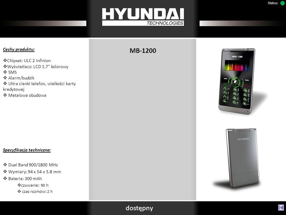 dostępny Status: MB-1200 Cechy produktu: Chipset: ULC 2 Infinion Wyświetlacz: LCD 1.7 kolorowy SMS Alarm/budzik Ultra cienki telefon, wielkości karty kredytowej Metalowa obudowa Specyfikacja techniczna: Dual Band 900/1800 MHz Wymiary: 94 x 54 x 5.8 mm Bateria: 300 mAh czuwanie: 90 h czas rozmów: 2 h