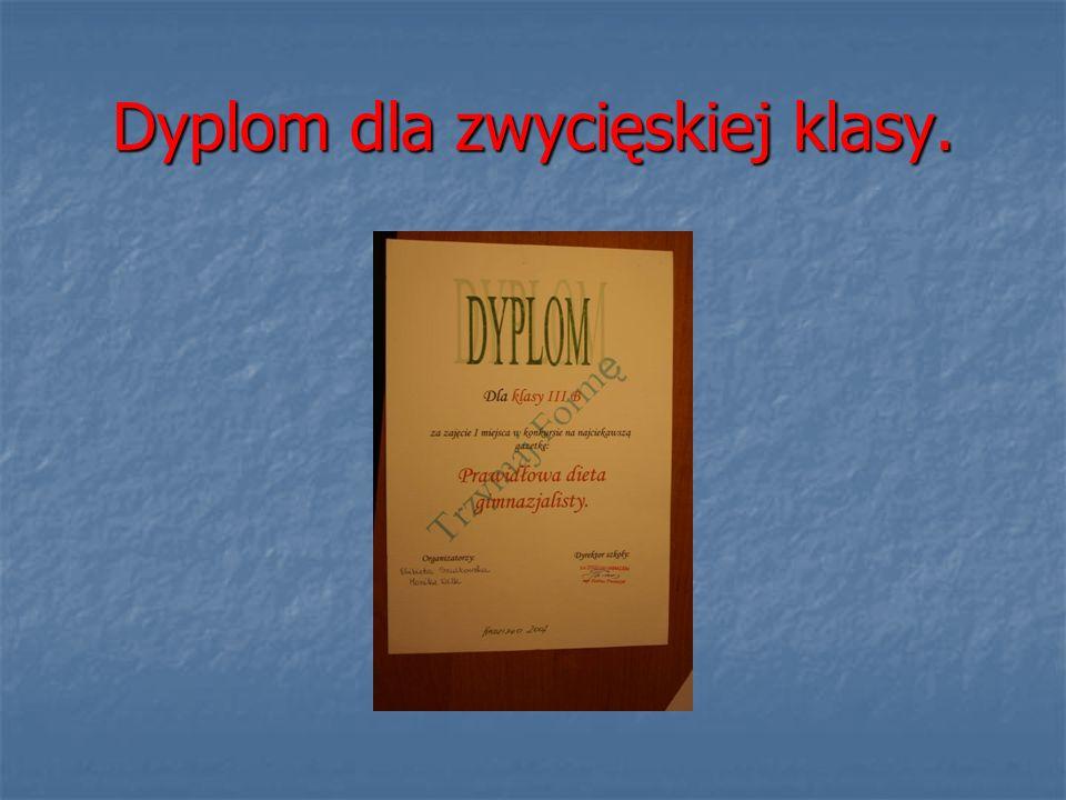 Dyplom dla zwycięskiej klasy.