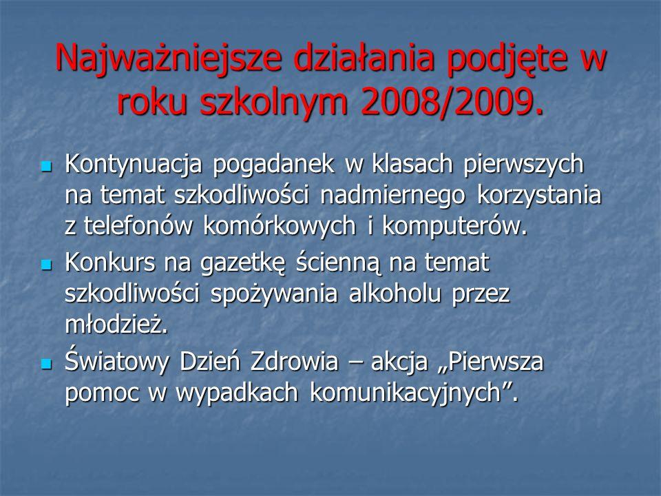Najważniejsze działania podjęte w roku szkolnym 2008/2009. Kontynuacja pogadanek w klasach pierwszych na temat szkodliwości nadmiernego korzystania z