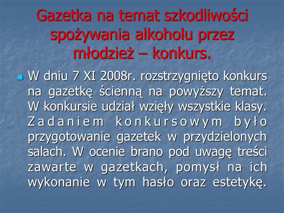 Gazetka na temat szkodliwości spożywania alkoholu przez młodzież – konkurs. W dniu 7 XI 2008r. rozstrzygnięto konkurs na gazetkę ścienną na powyższy t