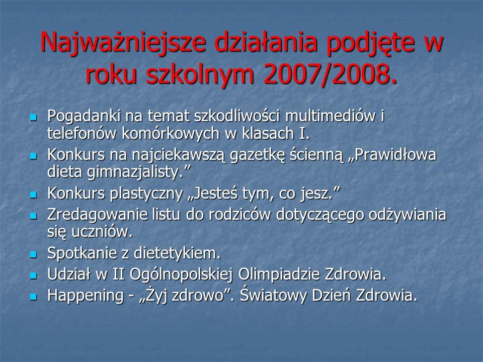 Najważniejsze działania podjęte w roku szkolnym 2007/2008. Pogadanki na temat szkodliwości multimediów i telefonów komórkowych w klasach I. Pogadanki