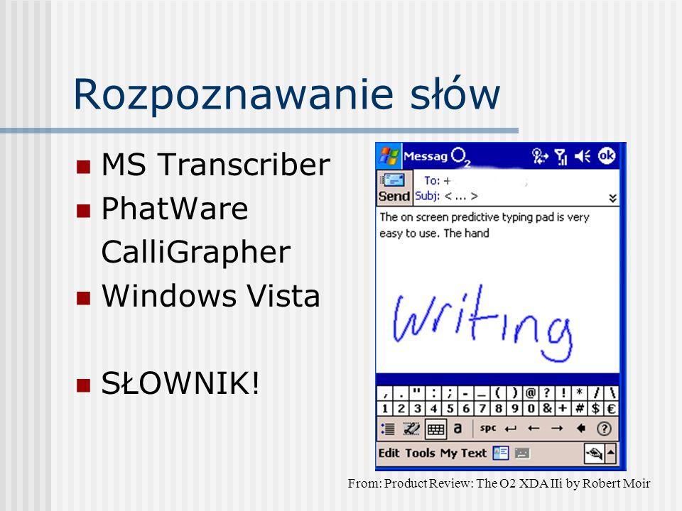 Rozpoznawanie słów MS Transcriber PhatWare CalliGrapher Windows Vista SŁOWNIK.
