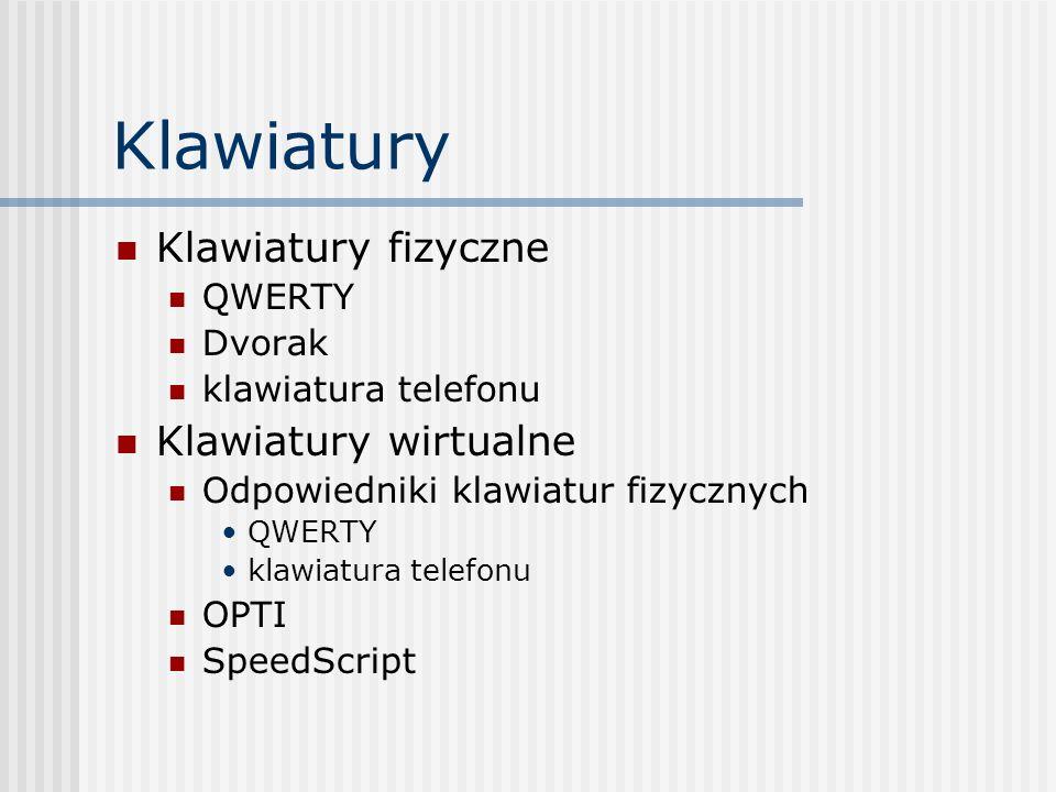 Klawiatury Klawiatury fizyczne QWERTY Dvorak klawiatura telefonu Klawiatury wirtualne Odpowiedniki klawiatur fizycznych QWERTY klawiatura telefonu OPTI SpeedScript
