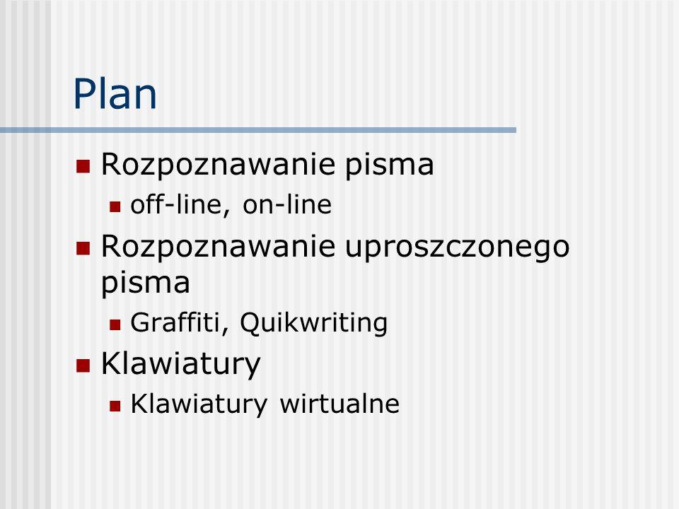 Plan Rozpoznawanie pisma off-line, on-line Rozpoznawanie uproszczonego pisma Graffiti, Quikwriting Klawiatury Klawiatury wirtualne