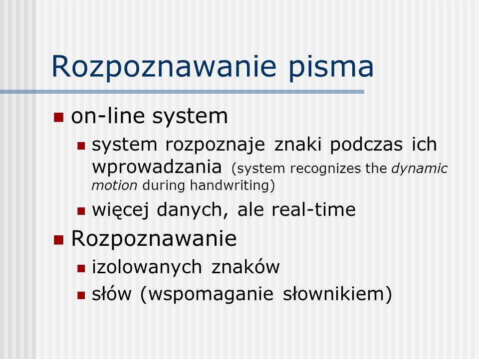Rozpoznawanie pisma on-line system system rozpoznaje znaki podczas ich wprowadzania (system recognizes the dynamic motion during handwriting) więcej danych, ale real-time Rozpoznawanie izolowanych znaków słów (wspomaganie słownikiem)