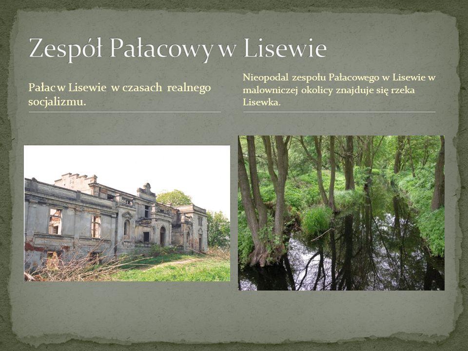 Pałac w Lisewie w czasach realnego socjalizmu. Nieopodal zespołu Pałacowego w Lisewie w malowniczej okolicy znajduje się rzeka Lisewka.
