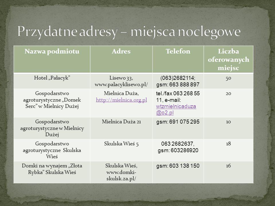 Nazwa podmiotuAdresTelefonLiczba oferowanych miejsc Hotel PałacykLisewo 33, www.palacyklisewo.pl/ (063)2682114; gsm: 663 888 897 50 Gospodarstwo agrot