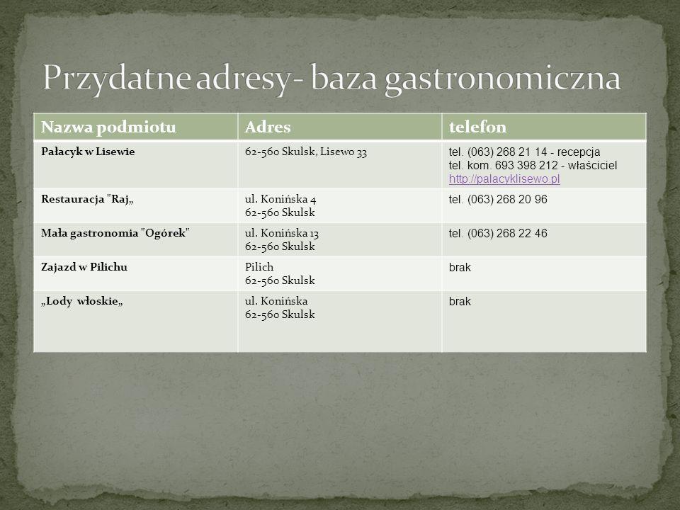 Nazwa podmiotuAdrestelefon Pałacyk w Lisewie62-560 Skulsk, Lisewo 33 tel. (063) 268 21 14 - recepcja tel. kom. 693 398 212 - właściciel http://palacyk