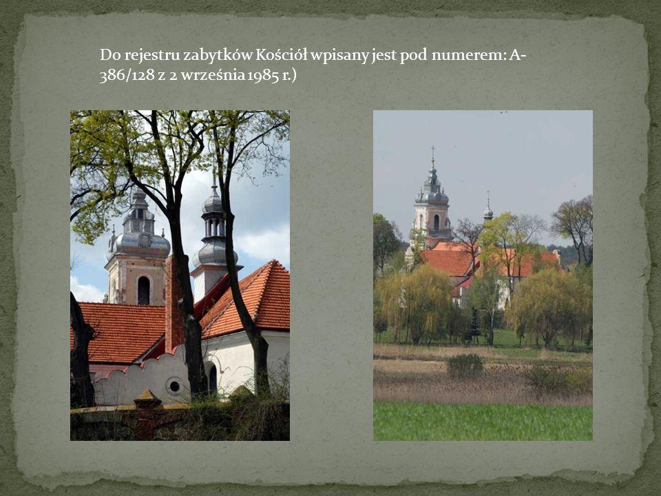 Do rejestru zabytków Kościół wpisany jest pod numerem: A- 386/128 z 2 września 1985 r.)