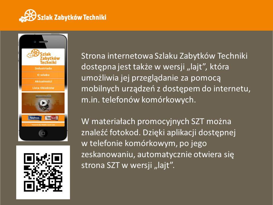 Strona internetowa Szlaku Zabytków Techniki dostępna jest także w wersji lajt, która umożliwia jej przeglądanie za pomocą mobilnych urządzeń z dostępe