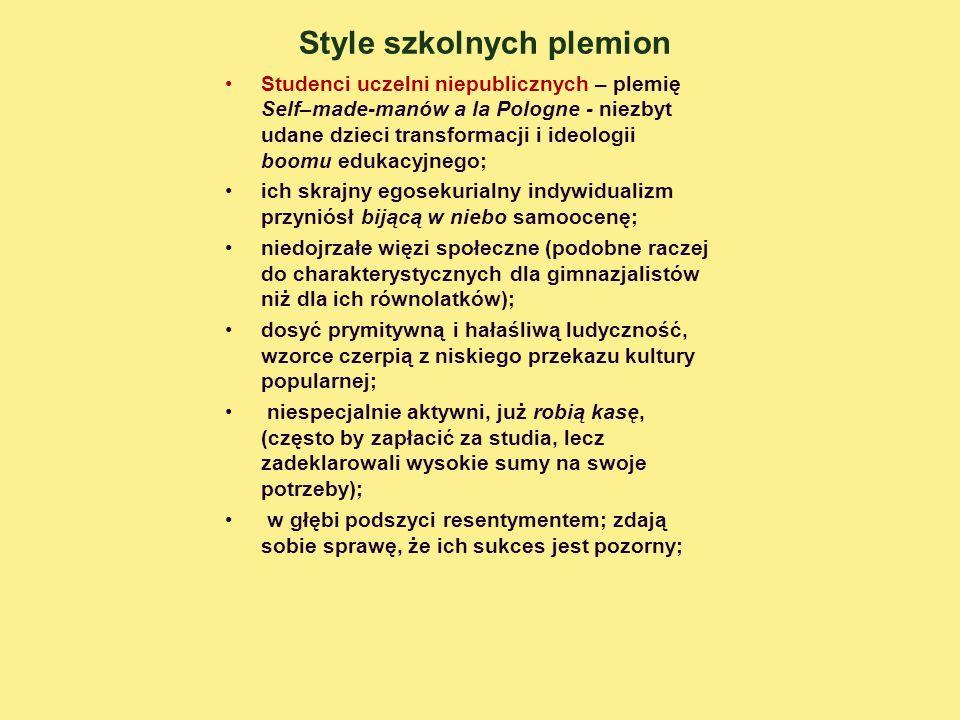 Style szkolnych plemion Studenci uczelni niepublicznych – plemię Self–made-manów a la Pologne - niezbyt udane dzieci transformacji i ideologii boomu e
