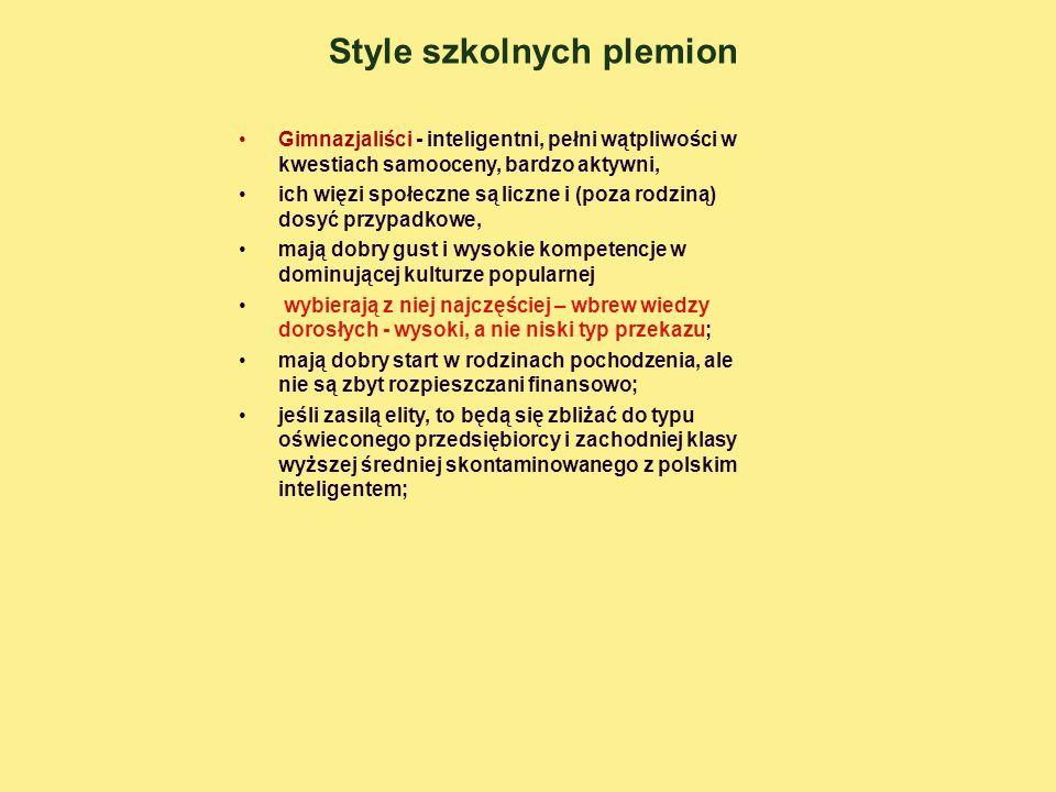 Style szkolnych plemion Gimnazjaliści - inteligentni, pełni wątpliwości w kwestiach samooceny, bardzo aktywni, ich więzi społeczne są liczne i (poza r