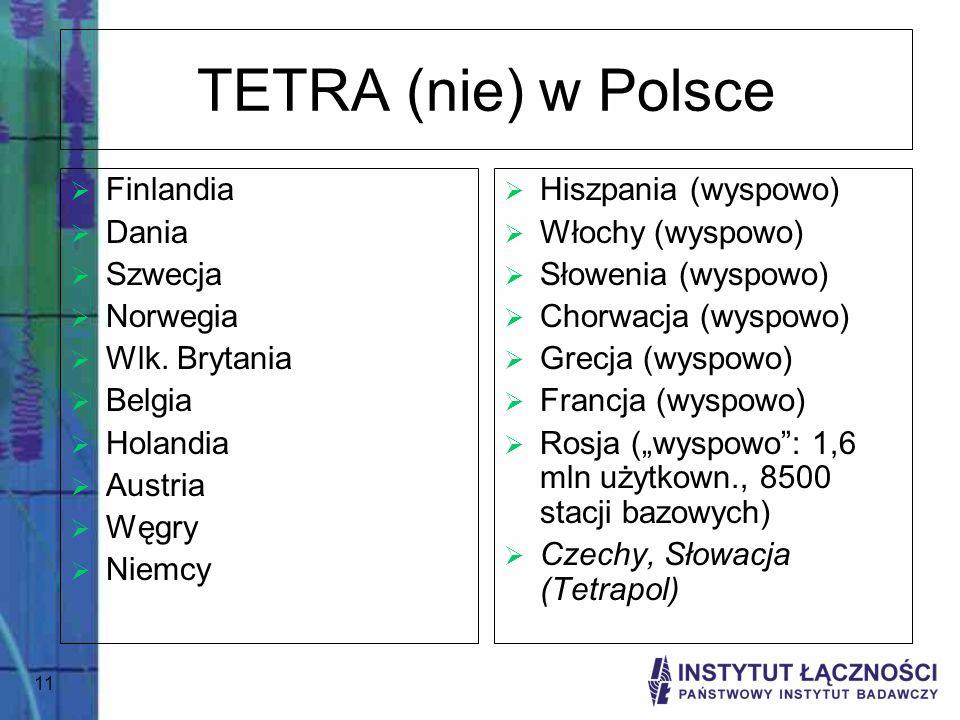 11 TETRA (nie) w Polsce Finlandia Dania Szwecja Norwegia Wlk. Brytania Belgia Holandia Austria Węgry Niemcy Hiszpania (wyspowo) Włochy (wyspowo) Słowe