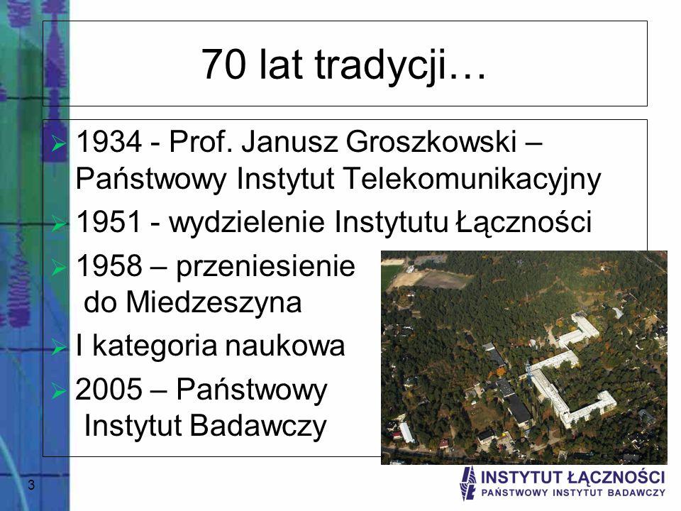 4...i dzień dzisiejszy 10 zakładów naukowych, 280 pracowników Badania naukowe i prace badawczo-wdrożeniowe Ekspertyzy, opinie i doradztwo, szczególnie dla administracji państwowej Program Wieloletni Konferencje krajowe i międzynarodowe Opracowania i wdrożenia dla potrzeb telekomunikacji Seminaria i kursy specjalistyczne Udział w projektach 6PR, strukturalnych, platformach technologicznych Członek ETSI, ITU, IEC, CENELEC, TETRA MoU
