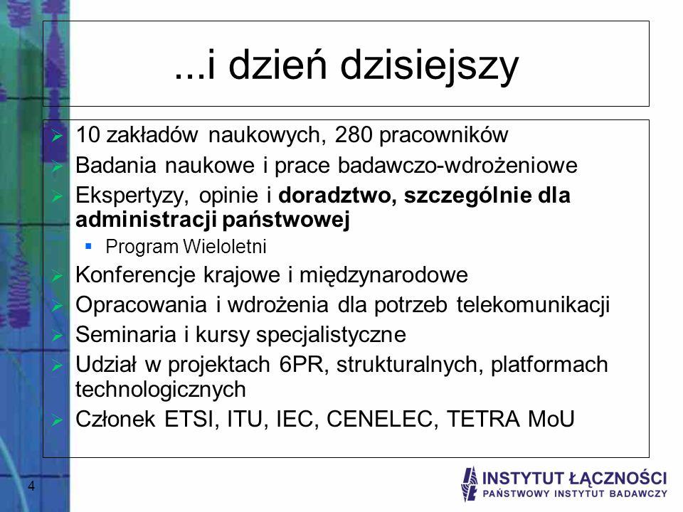 4...i dzień dzisiejszy 10 zakładów naukowych, 280 pracowników Badania naukowe i prace badawczo-wdrożeniowe Ekspertyzy, opinie i doradztwo, szczególnie