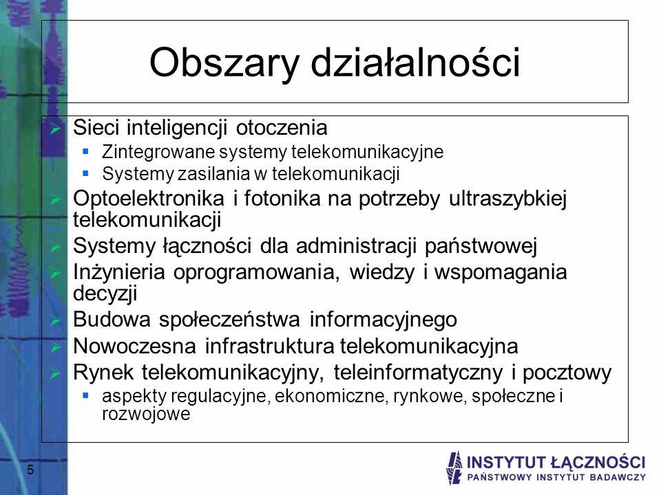 5 Obszary działalności Sieci inteligencji otoczenia Zintegrowane systemy telekomunikacyjne Systemy zasilania w telekomunikacji Optoelektronika i foton