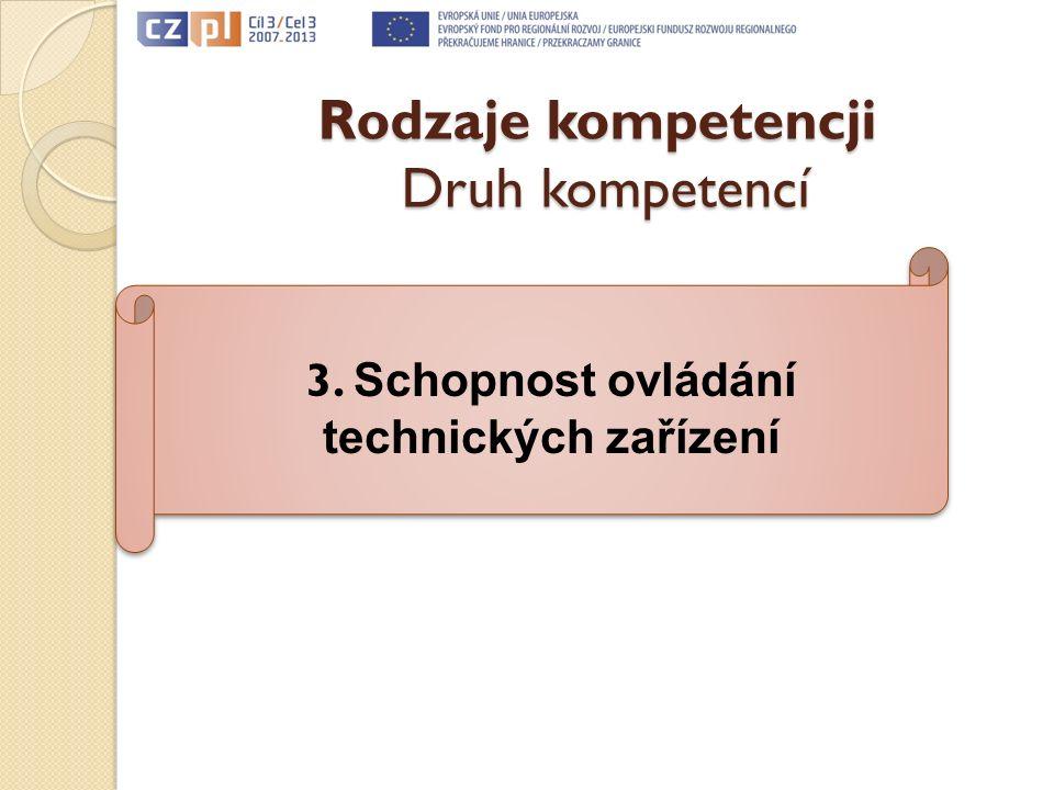 Rodzaje kompetencji Druh kompetencí 3. Schopnost ovládání technických zařízení