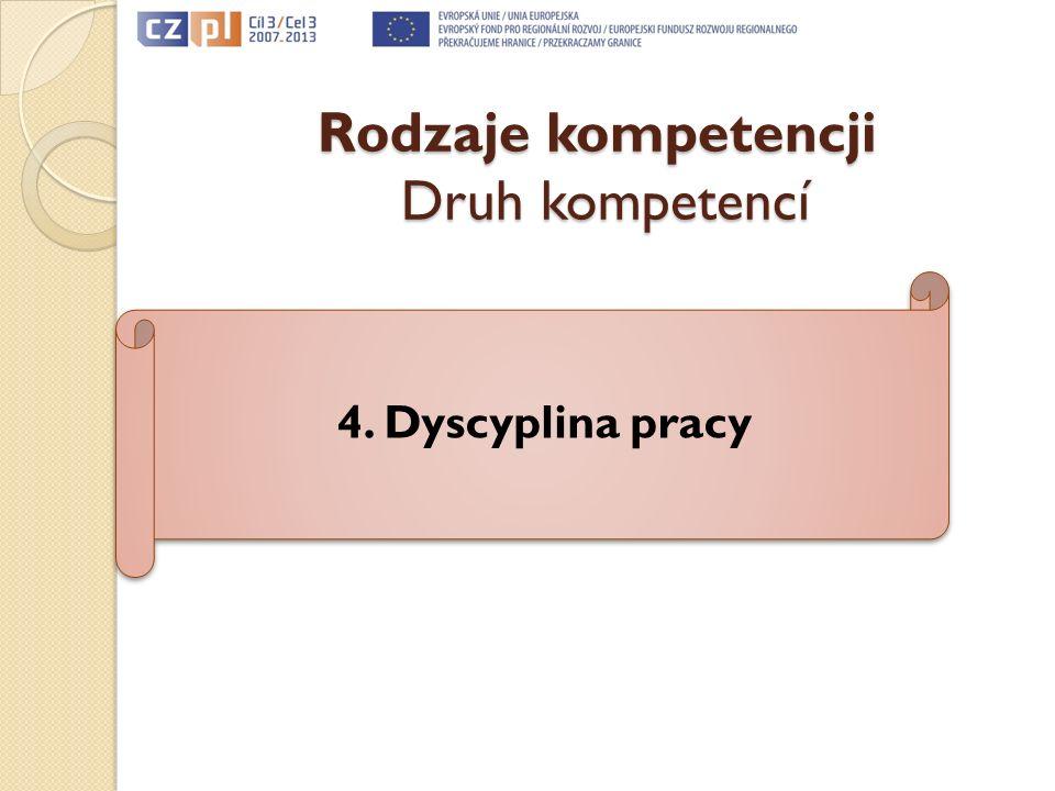 Rodzaje kompetencji Druh kompetencí 4. Dyscyplina pracy