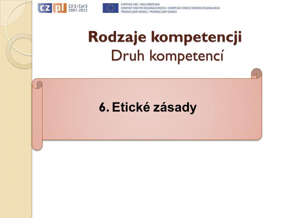 Rodzaje kompetencji Druh kompetencí 6. Etické zásady