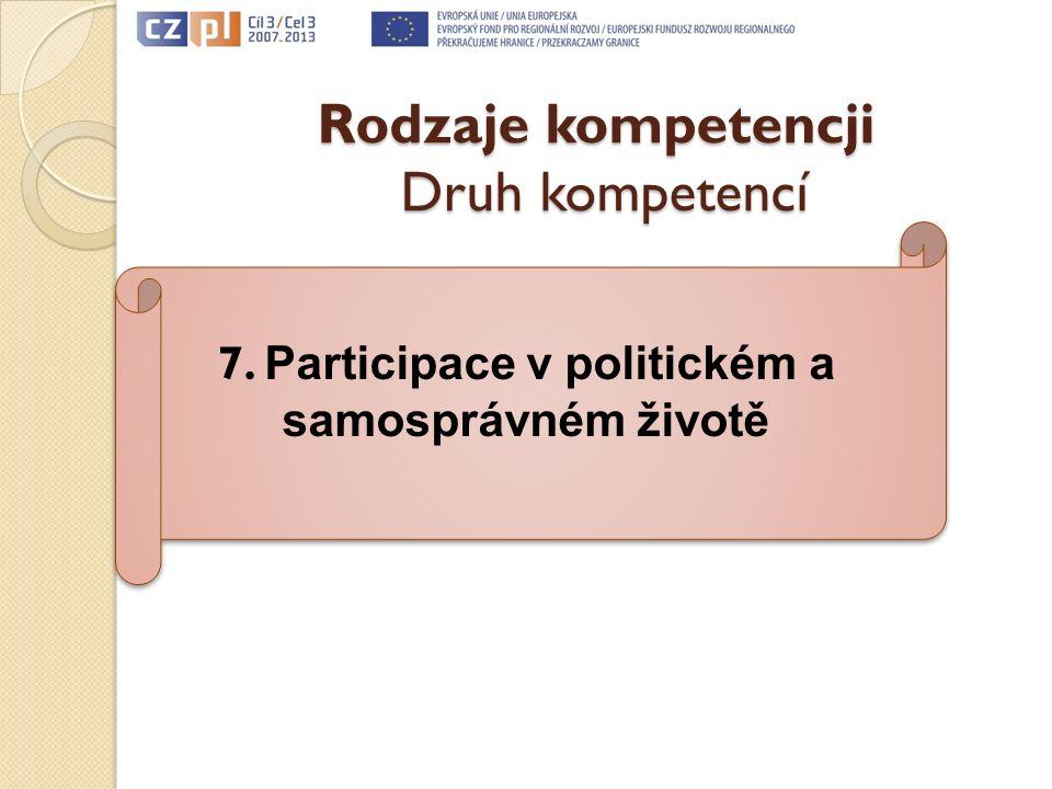 Rodzaje kompetencji Druh kompetencí 7. Participace v politickém a samosprávném životě
