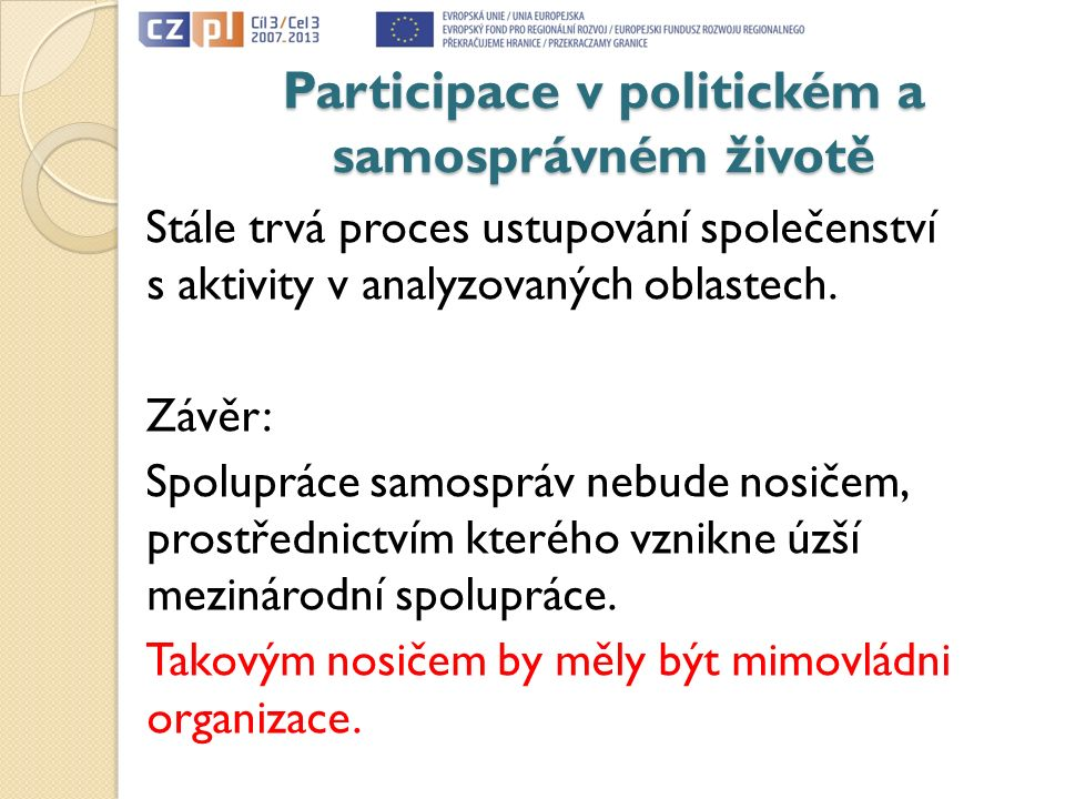 Participace v politickém a samosprávném životě Stále trvá proces ustupování společenství s aktivity v analyzovaných oblastech. Závěr: Spolupráce samos