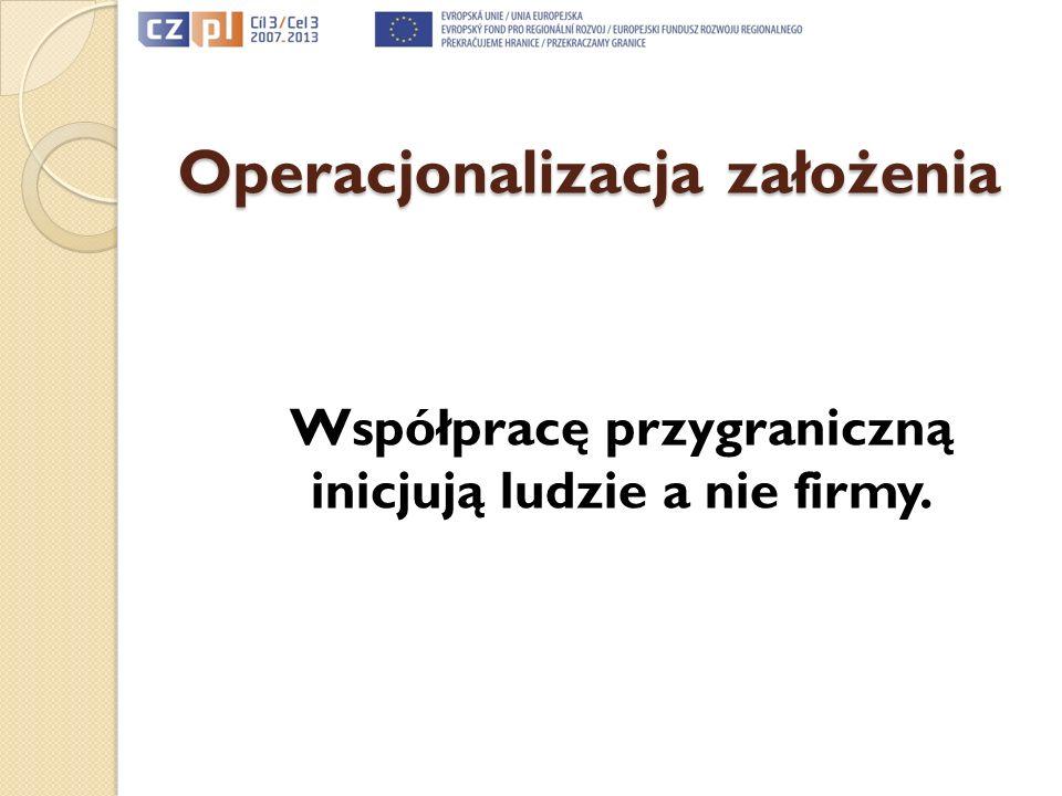 Operacjonalizacja założenia Współpracę przygraniczną inicjują ludzie a nie firmy.