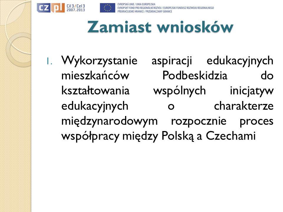 Zamiast wniosków 1. Wykorzystanie aspiracji edukacyjnych mieszkańców Podbeskidzia do kształtowania wspólnych inicjatyw edukacyjnych o charakterze międ