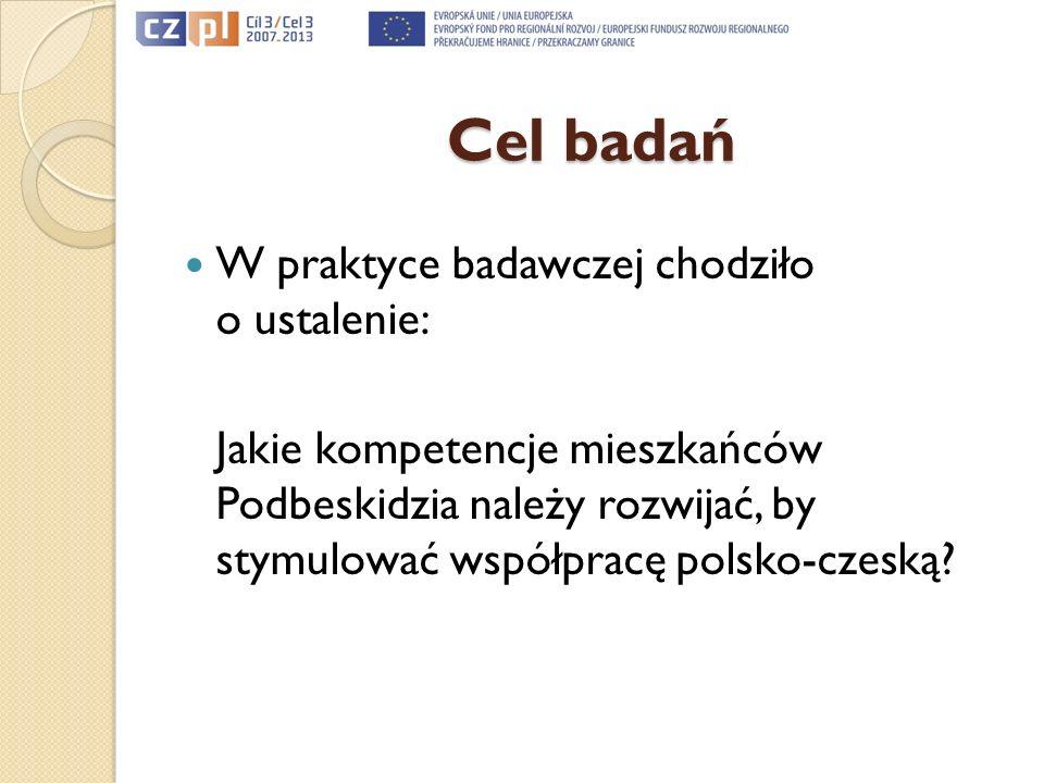 Cel badań W praktyce badawczej chodziło o ustalenie: Jakie kompetencje mieszkańców Podbeskidzia należy rozwijać, by stymulować współpracę polsko-czesk