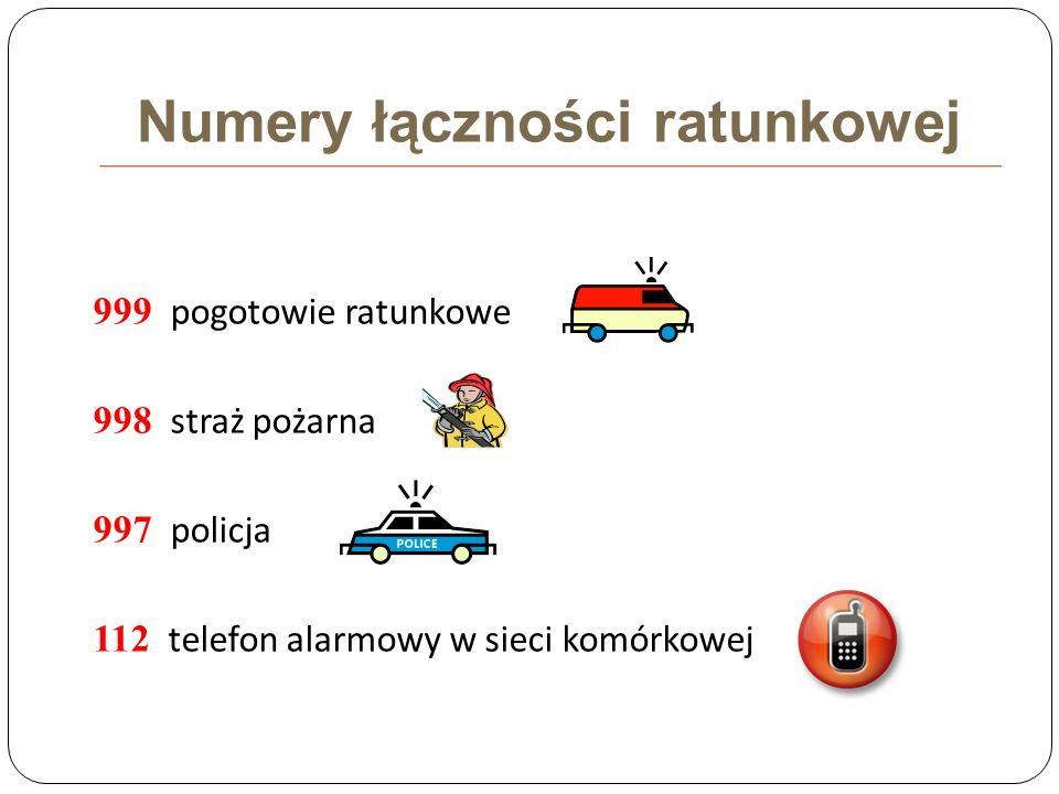 Numery łączności ratunkowej 999 pogotowie ratunkowe 998 straż pożarna 997 policja 112 telefon alarmowy w sieci komórkowej