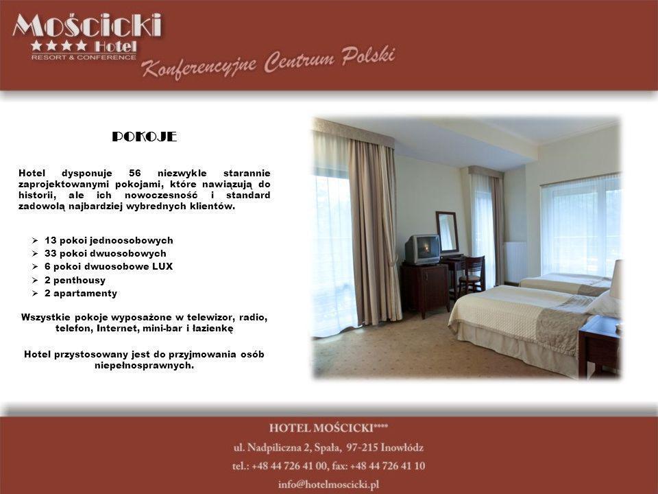 POKOJE Hotel dysponuje 56 niezwykle starannie zaprojektowanymi pokojami, które nawiązują do historii, ale ich nowoczesność i standard zadowolą najbardziej wybrednych klientów.