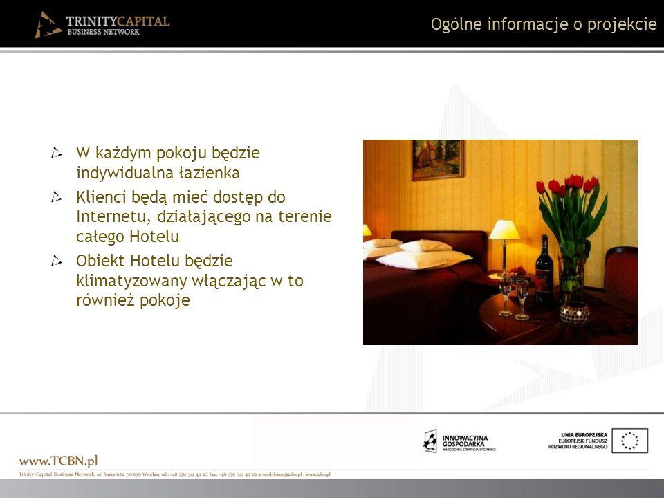 W każdym pokoju będzie indywidualna łazienka Klienci będą mieć dostęp do Internetu, działającego na terenie całego Hotelu Obiekt Hotelu będzie klimaty