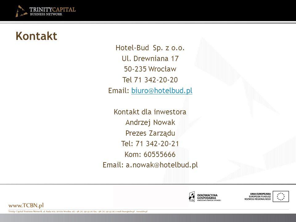 Hotel-Bud Sp. z o.o. Ul. Drewniana 17 50-235 Wrocław Tel 71 342-20-20 Email: biuro@hotelbud.plbiuro@hotelbud.pl Kontakt dla inwestora Andrzej Nowak Pr
