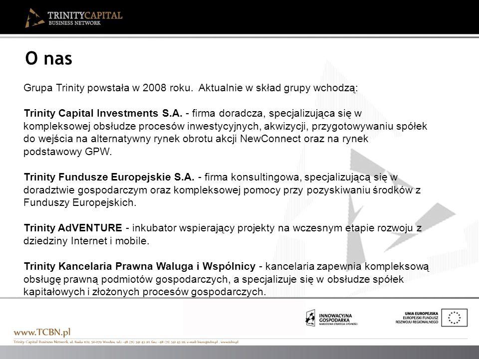 O nas Grupa Trinity powstała w 2008 roku. Aktualnie w skład grupy wchodzą: Trinity Capital Investments S.A. - firma doradcza, specjalizująca się w kom