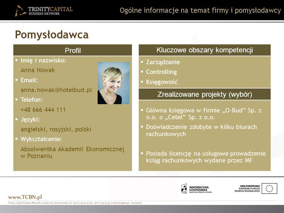 Profil Imię i nazwisko: Anna Nowak Email: anna.nowak@hotelbud.pl Telefon: +48 666 444 111 Języki: angielski, rosyjski, polski Wykształcenie: Absolwent