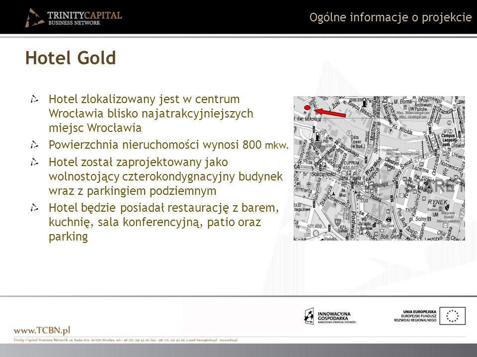 Hotel Gold Hotel zlokalizowany jest w centrum Wrocławia blisko najatrakcyjniejszych miejsc Wrocławia Powierzchnia nieruchomości wynosi 800 mkw. Hotel