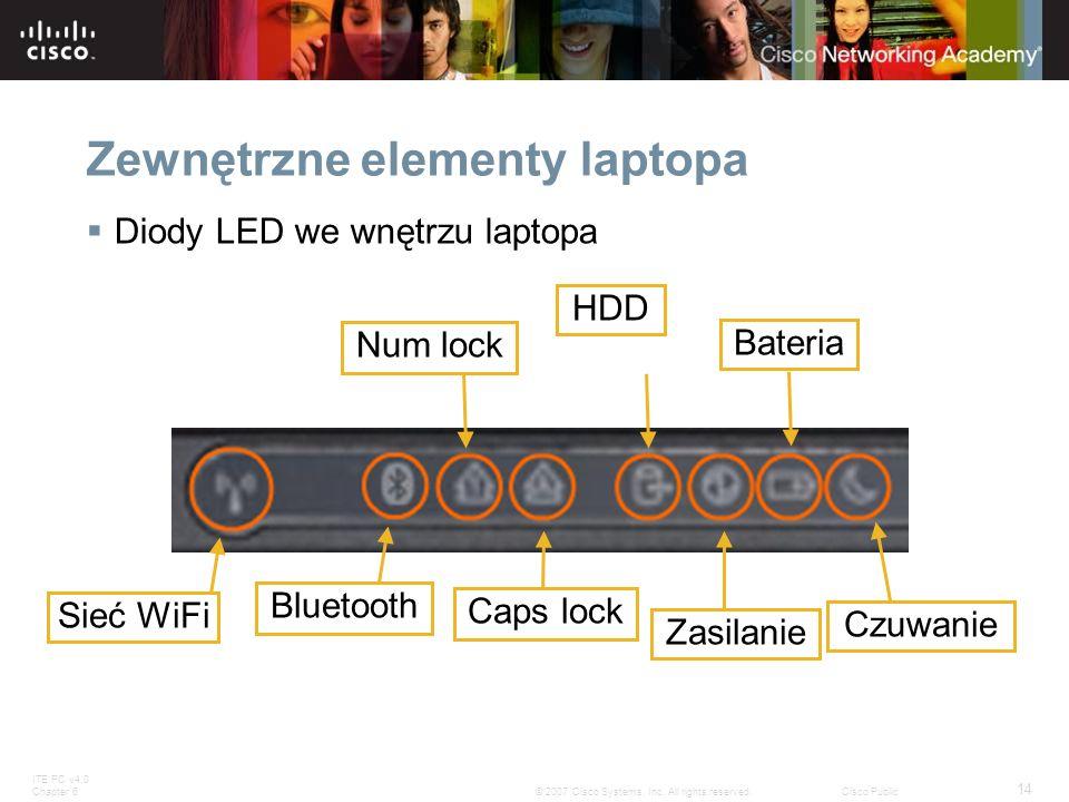 ITE PC v4.0 Chapter 6 14 © 2007 Cisco Systems, Inc. All rights reserved.Cisco Public Zewnętrzne elementy laptopa Diody LED we wnętrzu laptopa Sieć WiF