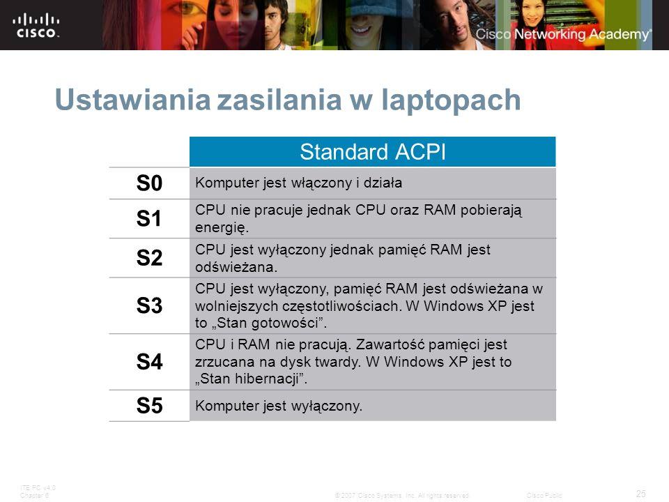 ITE PC v4.0 Chapter 6 25 © 2007 Cisco Systems, Inc. All rights reserved.Cisco Public Ustawiania zasilania w laptopach Standard ACPI S0 Komputer jest w