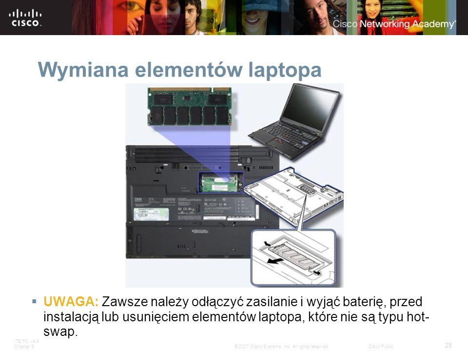 ITE PC v4.0 Chapter 6 28 © 2007 Cisco Systems, Inc. All rights reserved.Cisco Public Wymiana elementów laptopa UWAGA: Zawsze należy odłączyć zasilanie