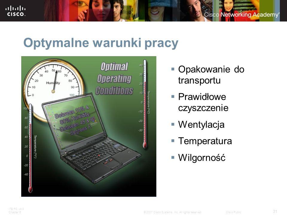 ITE PC v4.0 Chapter 6 31 © 2007 Cisco Systems, Inc. All rights reserved.Cisco Public Optymalne warunki pracy Opakowanie do transportu Prawidłowe czysz