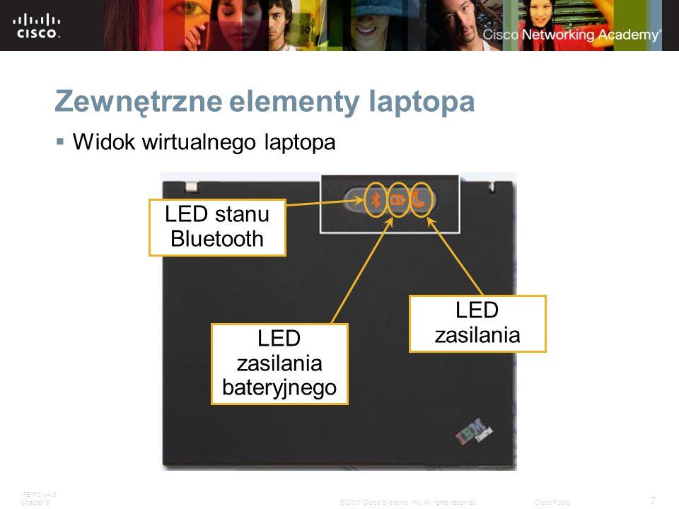 ITE PC v4.0 Chapter 6 7 © 2007 Cisco Systems, Inc. All rights reserved.Cisco Public Zewnętrzne elementy laptopa Widok wirtualnego laptopa LED stanu Bl
