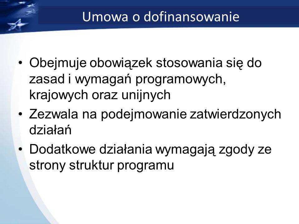 Umowa o dofinansowanie Obejmuje obowiązek stosowania się do zasad i wymagań programowych, krajowych oraz unijnych Zezwala na podejmowanie zatwierdzonych działań Dodatkowe działania wymagają zgody ze strony struktur programu