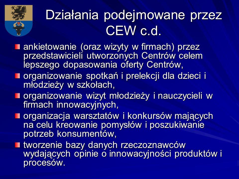 Działania podejmowane przez CEW c.d. ankietowanie (oraz wizyty w firmach) przez przedstawicieli utworzonych Centrów celem lepszego dopasowania oferty